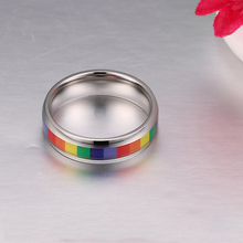 Lesbian Rainbow Bands Rings Stainless Steel For Wedding Gift