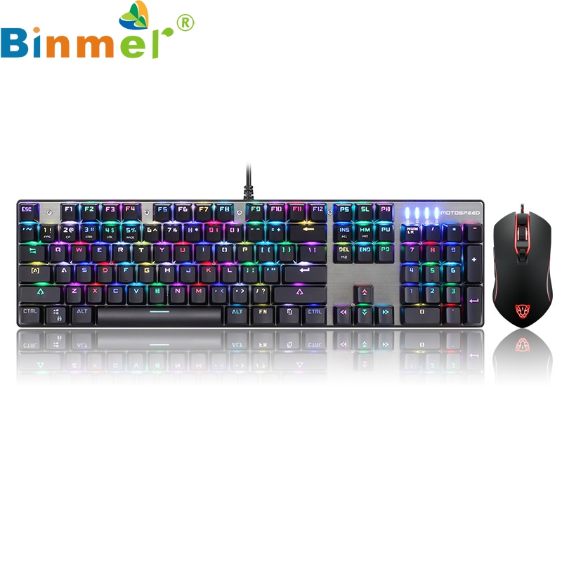 Motospeed CK888 Gaming Keyboard and Mouse Set with Rainbow Backlight for Desktop 17OCT9 motospeed ck108 black usb professional wired gaming keyboard gamer qwerty with 18 backlight for desktop laptop gaming keyboard
