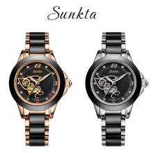 Diamond Stainless Steel Ceramic Watch SUNKTA Fashion Waterproof Women Top Brand Luxury Quartz Relogio Feminino