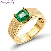 Fashion Jewelry Rings For Women Natural Diamond 0.90Ct Princess Cut Emerald Gemstone Wedding Ring 18K Yellow Gold Band Rings