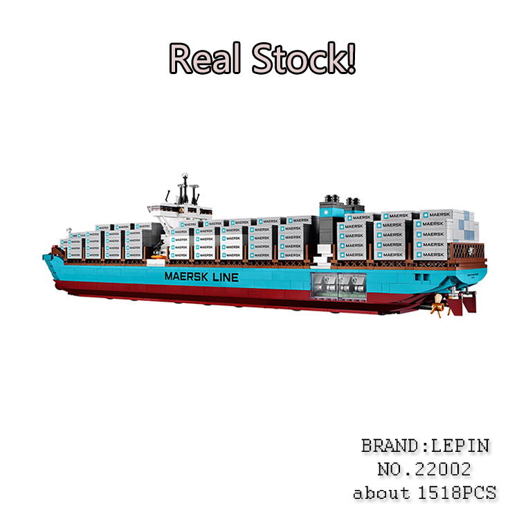 Lepin 22002 1518Pcs Technic Series The Maersk Cargo Container Ship Set Educational Building Blocks Bricks Model ToysGifts 10241 lepin 22002 1518pcs the maersk cargo container ship set educational building blocks bricks model toys compatible legoed 10241