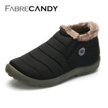 FABRECANDY New Men Winter Shoes Solid Color Snow Boots Plush Inside Antiskid Bottom Keep Warm Waterproof
