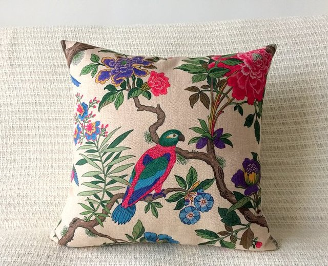 Cotton Linen Cushion Cover  Decorative Pillow Case Vintage Country Floral Bird Natural Style Home 45x45cm