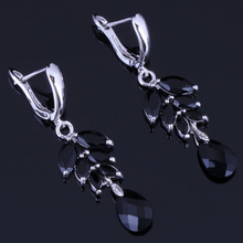 Heavenly Water Drop Black Cubic Zirconia 925 Sterling Silver Dangle Earrings For Women V1007