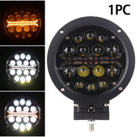 60W 7inch Round Led Work Light with Yellow Angel Eyes can be used as Fog Light forJeep 4x4 SUV,Boat ,Cars, Truck, Trailer, Forkl