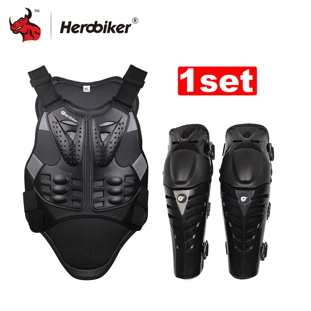 HEROBIKER Motorcycle Motocross Chest & Back Protector Armor Vest Racing Protective Body-Guard Armor+ Motocycle Knee Pad herobiker armor removable neck protection guards riding skating motorcycle racing protective gear full body armor protectors