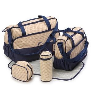 Image 2 - 5PCS/Set Large Diaper Bag baby Diaper Bags Durable Multifunctional Big Capacity Nappy Kids Bags Waterproof Tote Bags T0036