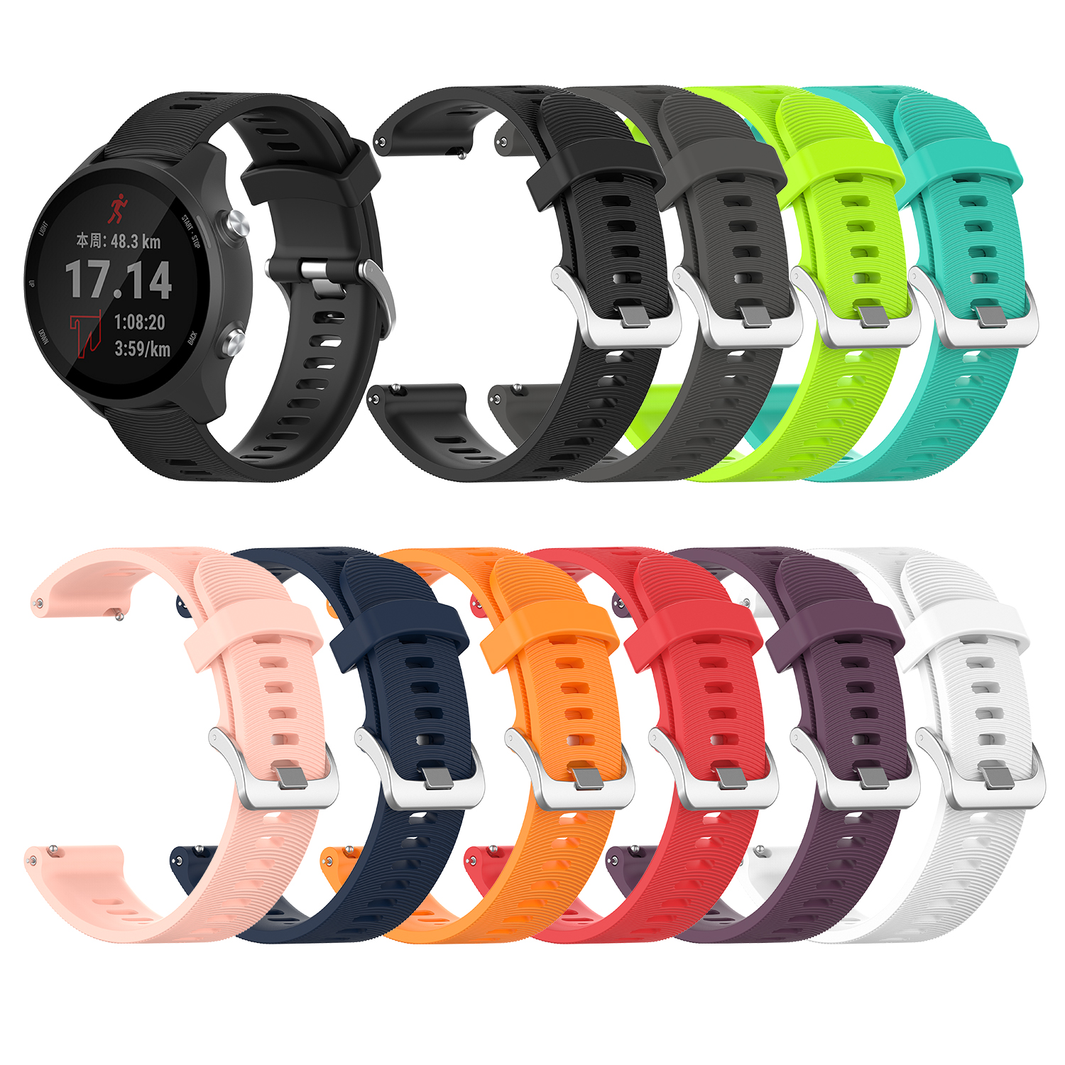 For Garmin 245 Strap Official Button Silicone Watch Band Sports Strap For Forerunner 245M/645/Vivoactive3/Vivomove HR Bracelet