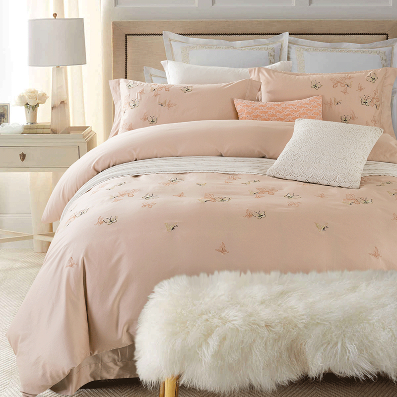 100 cotton white color embroidered butterfly bedding set for Ancho cama king size