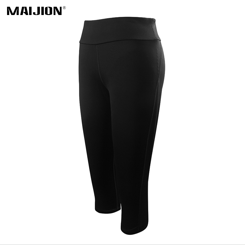 MAIJION Women Black Elastic Yoga Pants Leggings Mesh Patchwork Fitness Sport Pants Breathable Gym Running Workout Tights Capris women yoga pants sets fitness yoga leggings elastic tights sport running gym bra breathable pants t shirt 3pcs setleri clothes