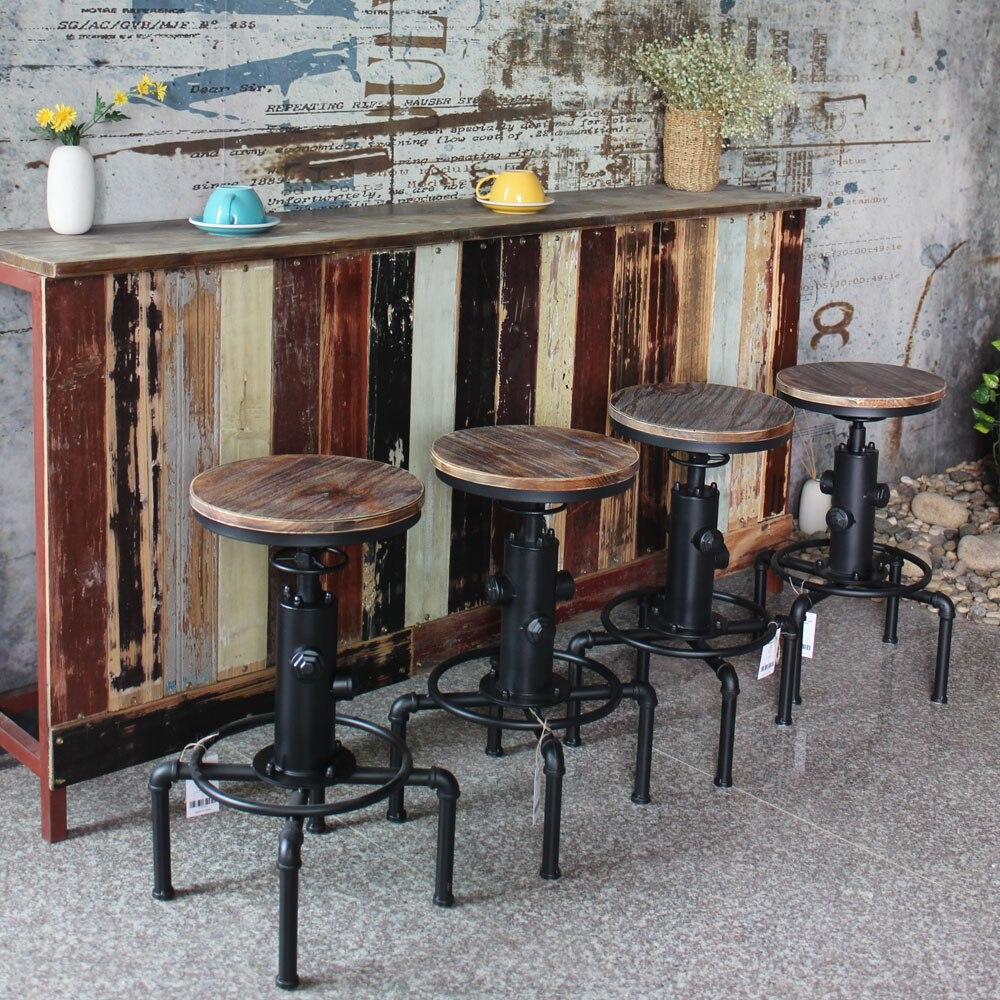 iKayaa Metal Industrial Bar Stool Height Adjustable Swivel Pinewood Top Kitchen Dining Chair Pipe Style Barstool Bar Chair