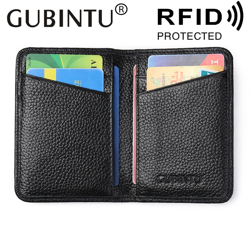 Slim Business Leather ID/Credit Card Holder Bifold Wallet with RFID Blocking Fashion Card Holder 100% Genuine Leather