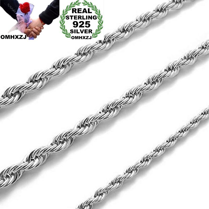 OMHXZJ Wholesale Personality Fashion Unisex Party Wedding Gift Silver 3MM Rope Chain 925 Sterling Silver Chain Necklace NC185