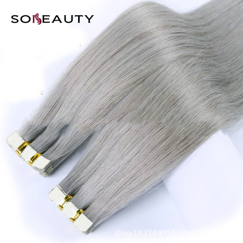 Human-Hair-Extensions Adhesive Tape-In Remy-On Invisible PU Straight 20pcs/Pack