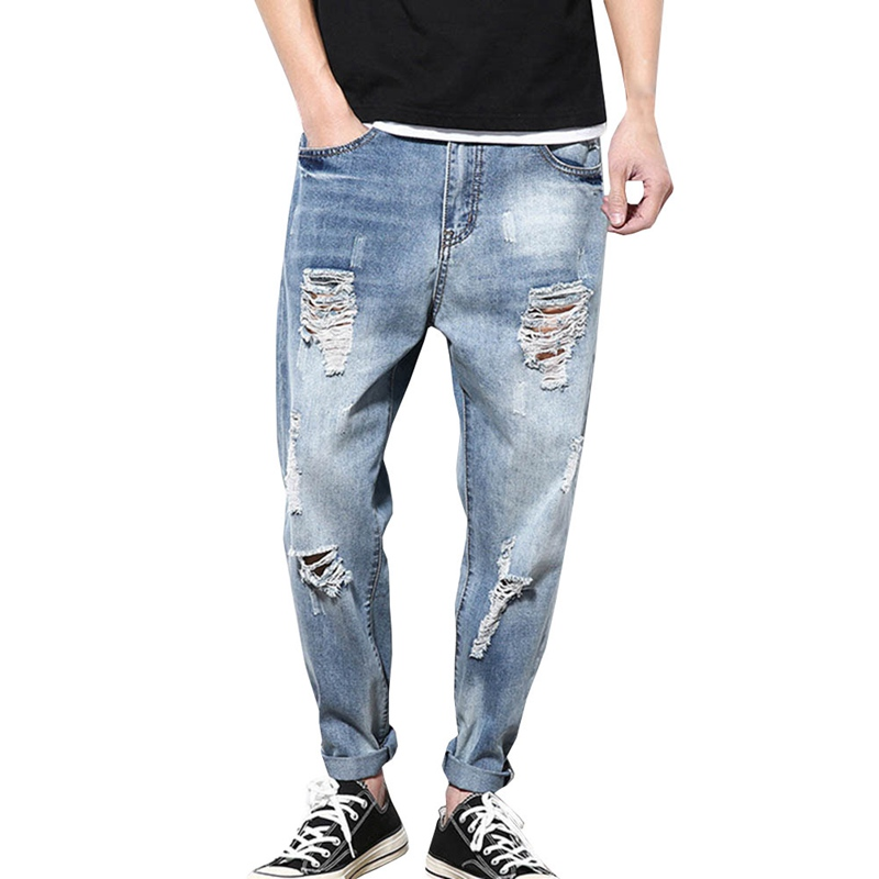 2018 Casual Jeans Men Clothes Hole Ripped Distressed Fashion Hip Hop Male Denim Loose Trousers For Mens Pencil Clothing