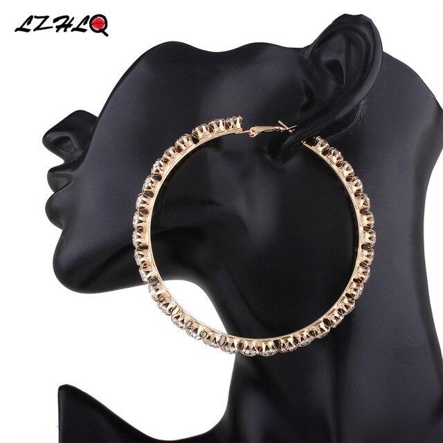 c6e742c807be ... Maxi grande redondo círculo pendientes geométrico Aleación de diamantes  de imitación pendientes para mujeres 2019 marca de moda accesorios de la  joyería