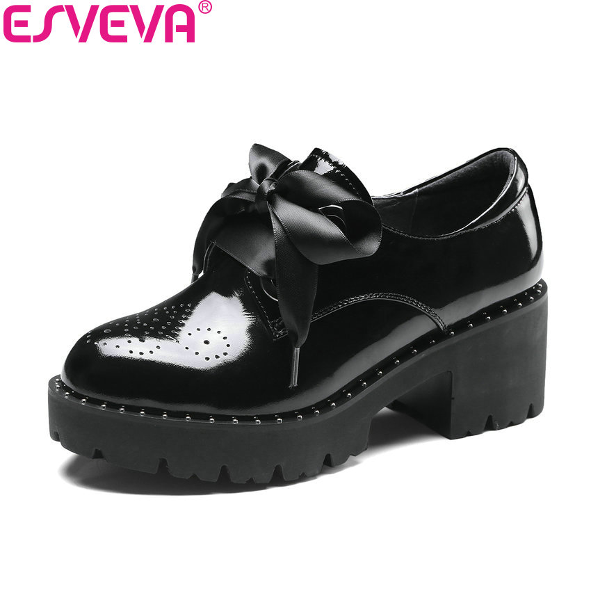 ESVEVA 2018 Women Pumps Sewing High Heels Casual Round Toe Cow Leather PU Square Heels Lace Up Platform Ladies Shoes Size 34-39 big size high heels round toe women platform shoes cool casual white lace wedge black creepers medium pumps mesh chinese fashion