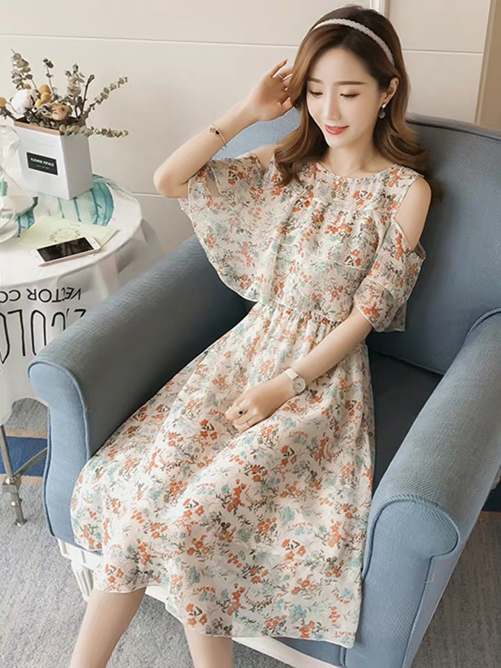 Pregnant Nursing Dress Off Shoulder print Maternity Breastfeeding Dresses For Photo Shoot Chiffon Maternity Dress Party Clothes 60