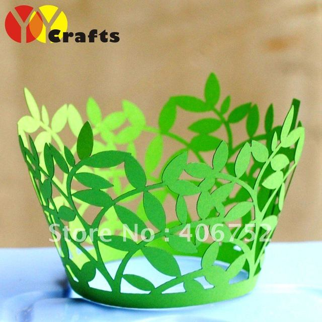 "party favors ""leaves"" wedding decoration cupcake wrappers 100pcs/lot free logo fast shipment"