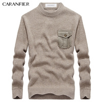CARANFIER Winter Men Knitting Sweater Pullover Male Solid Cotton Casual Sweater O Neck Pocket Men Leisure