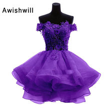 New Pink / Red / Purple / White / Blue Color Sweetheart Lace Organza Mini Short Cocktail Dress Bridal Party Evening Prom Gown