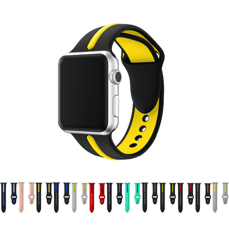 SIKAI Soft Silicone Strap Band for Apple Watch 42mm 38mm Double Color Rubber Sport Wrist Bracelet Watch Straps for iwatch 3/2/1 sport silicone band strap for apple watch nike 42mm 38mm bracelet wrist band watch watchband for iwatch apple strap series 3 2 1