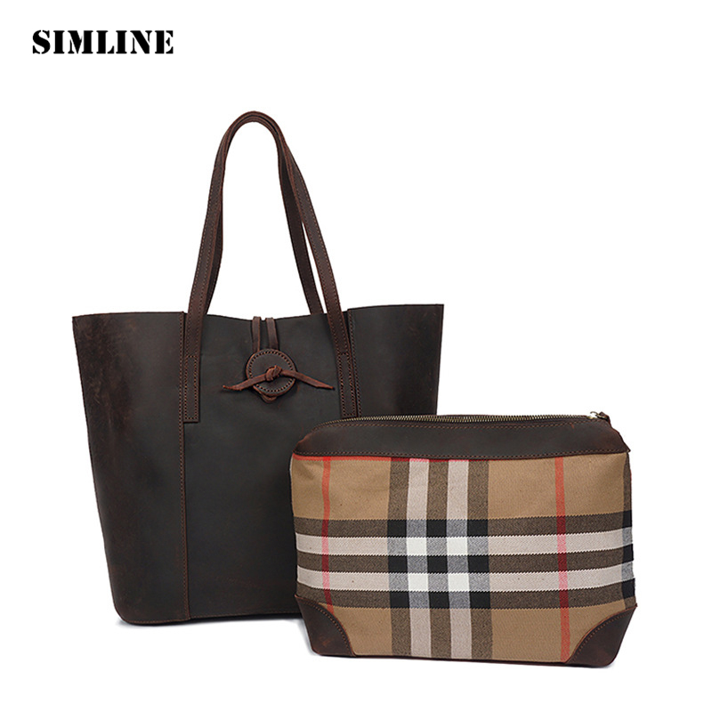 SIMLINE Luxury Vintage Casual Crazy Horse Genuine Leather Women Tote Handbag Handbags Shoulder Bag Bags Totes Large Capacity new crazy horse cowhide women shoulder bag genuine leather fashion casual ladies luxury satchel bags famous brand tote handbag