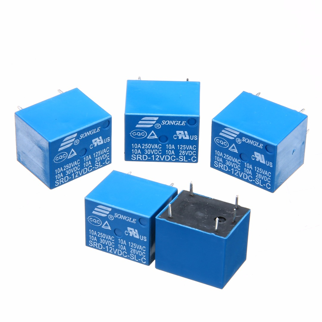 2Pcs/5Pcs/10Pcs Small Mini Electrical Power Relay SRD-12VDC-SL-C Relay T73-12V 10A 5 Pins Power Relays