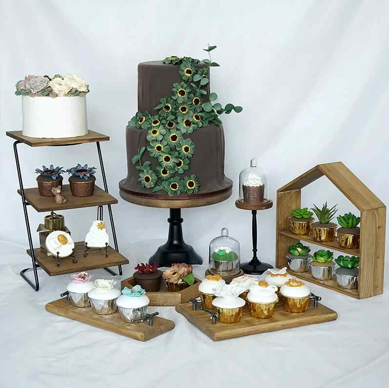 fe86d0cb7f90 8 pieces wood cake stand set forest style cake tools fondant cake tray home  decoration dessert