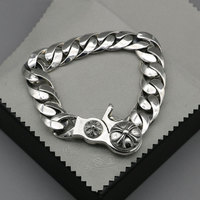 Starfield Retro Thai Silver Male Female Youth Wave Punk S925 Sterling Silver Jewelry Rough Cross Bracelet Homme