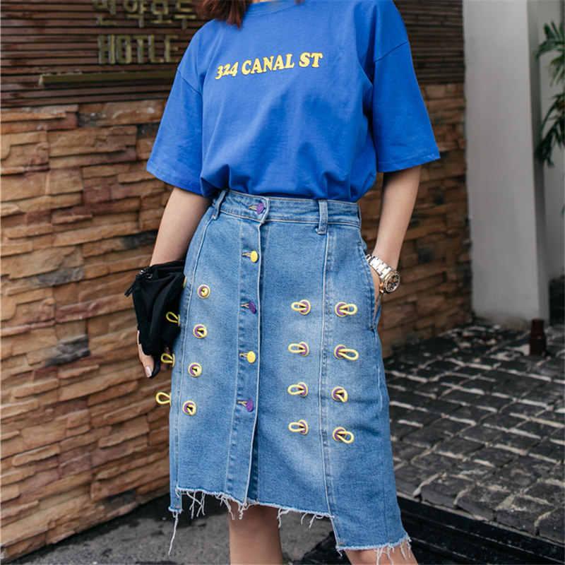 オリジナル春夏デニムスカート女性の洋服 2019 新ストリートハイウエストスカート不規則なバッグヒップスカートレディース