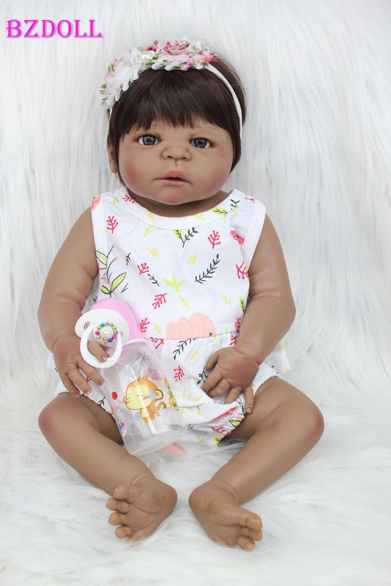 55 سنتيمتر كامل الجسم سيليكون تولد من جديد دمية طفل لعبة 22 بوصة الأسود الجلد الوليد فتاة الأميرة طفل الرضع دمية الطفل يستحم لعبة-في الدمى من الألعاب والهوايات على  مجموعة 1