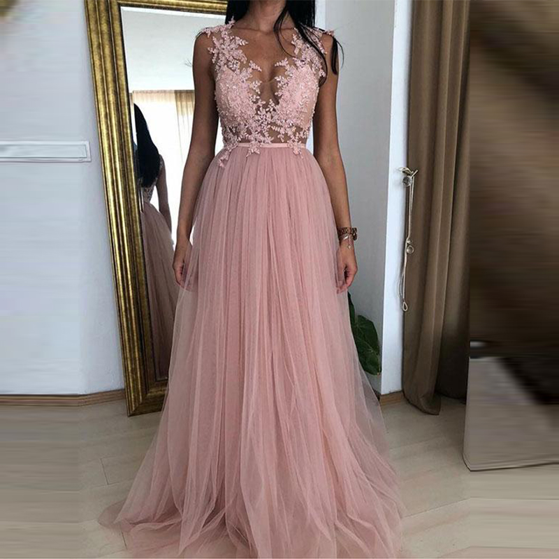 2019 Elegant Pink   Prom     Dresses   Lace Appliques V Neck Sleeveless Illusion Tulle Evening Party Gowns vestido fiesta largo