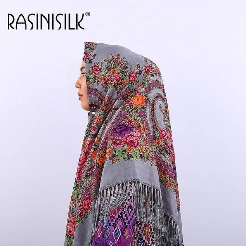 Russian Fringed  Big Square Scarf Shawl National Muslim Hijabs Headscarf Dual-use Autumn Winter Ladies Print Warm Headband Women
