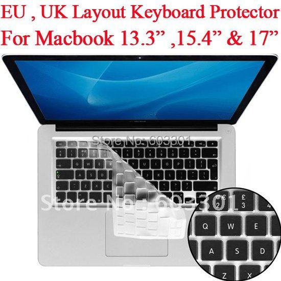 100pcs lot UK keyboard layout protector for Macbook 13 3 15 4 and 17 for macbook