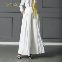 VOA Plus Size Loose Pantskirt Women Heavy Silk Wide Leg Pants High Waist Belt Trouser Office Casual Solid Palazzo Pants K397 недорого