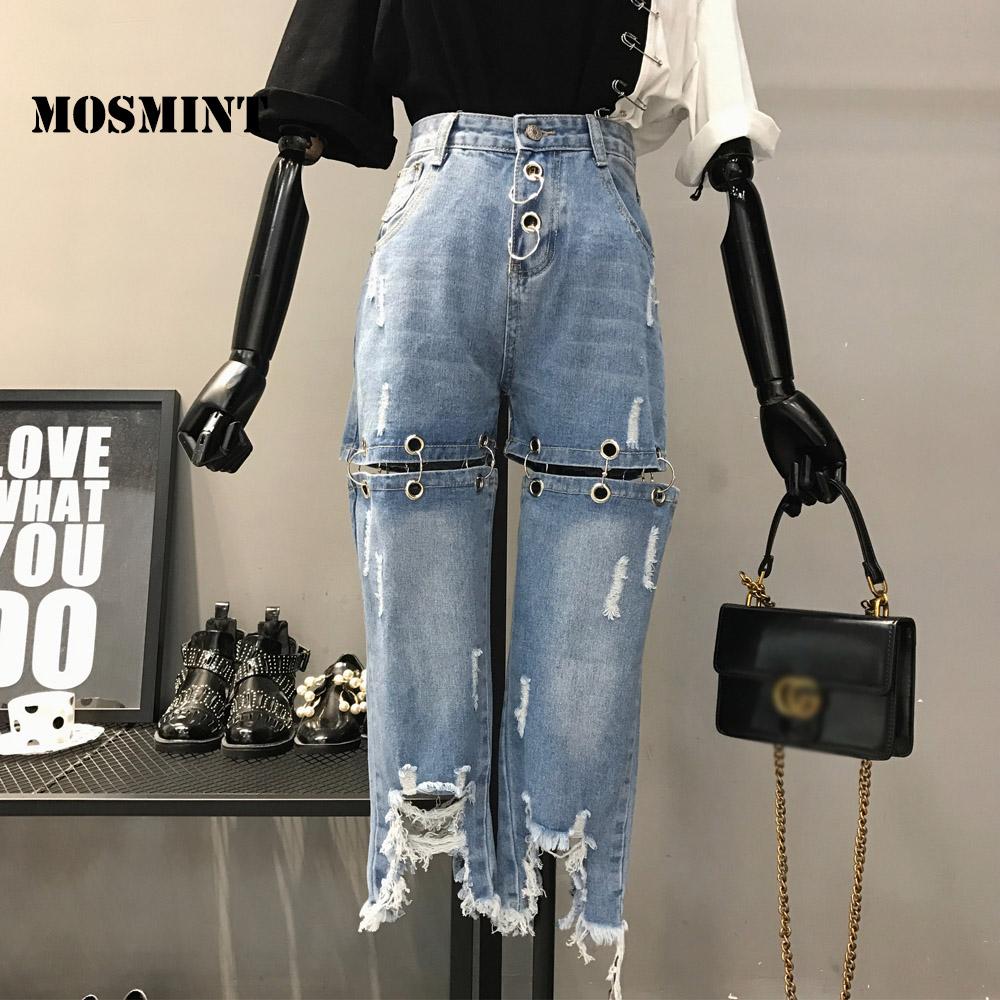 MOSMINT Ring Accent Patch Design Ripped Holes Denim Jeans Women Autumn High Waist Ankle Length See-through Denim Jeans Bottoms ring denim jeans