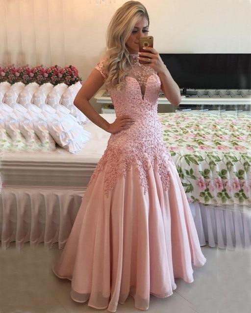 47f2258ac7 Vestidos de fiesta Rosa largo vestidos de baile de 2019 de manga corta de  cuello abierto