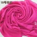 Hot Pink Europe America Stylish Female Slik Muffler Solid Color Cape Autumn Winter New Scarf Shawl Size 180 x 69 cm
