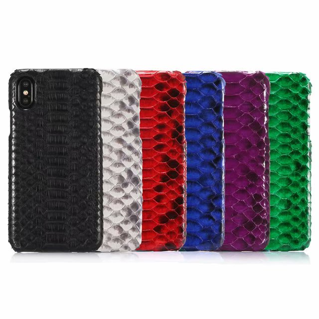 For IPhone X Case Cover Funda Luxury Python Skin Texture Case for Iphone XS Genuine Leather