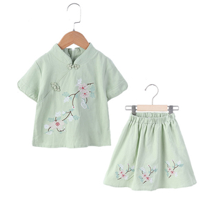 Image 2 - Lovely Girls Cheong sam 2PC Chinese Traditional Style Han Fu Baby Retro Dress Children Summer Casual Cotton Linen Dresses