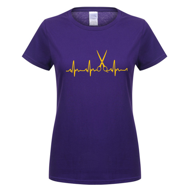 Heartbeat of Hairdresser Women T Shirts Cool Hair Printed Girl ...