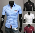free shipping  mens dress shirts short sleeved slim fit shirt 4 clolor lowest price