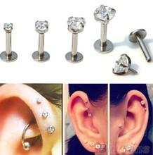 Gold color Steel Rose Labret Lip Ring Zircon Anodized Titnium Internally Threaded CZ Gem Monroe 16G Tragus Helix Ear Piercing