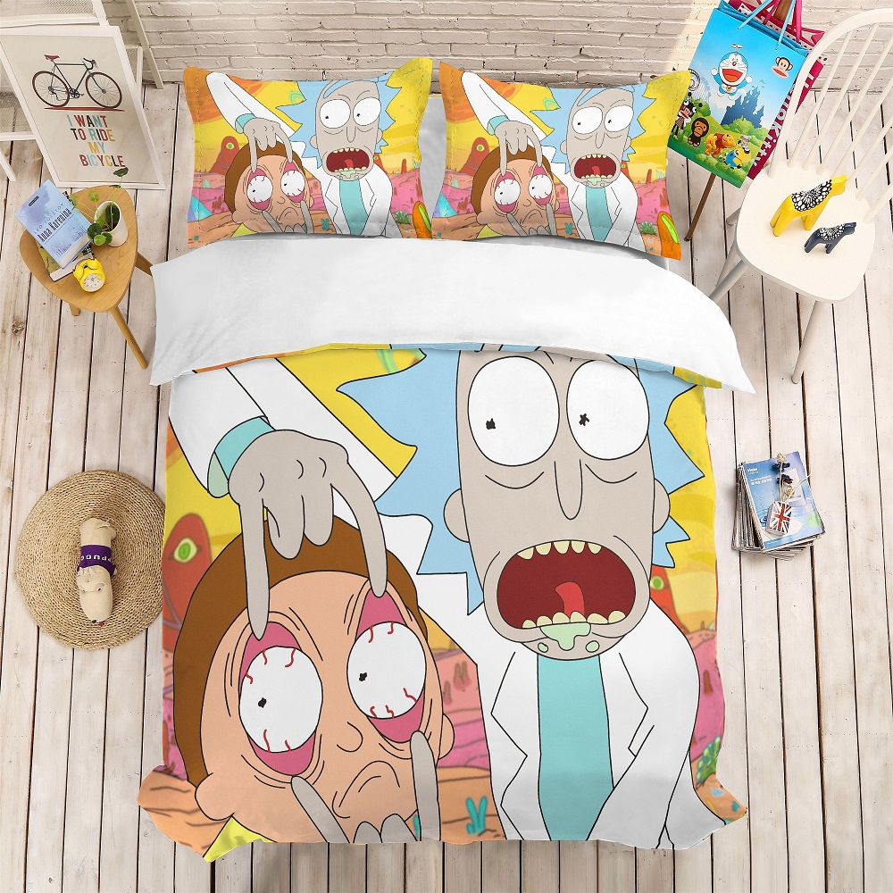 Funny Rick And Morty Bedding Set 3PCS Cartoon Character Bed Linen Set Luxury Microfiber Duvet Cover Set Home Textiles Pillowcase