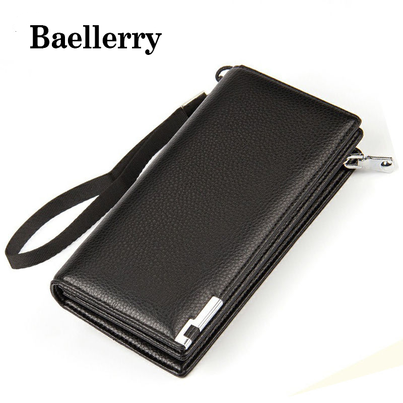 Baellerry Fashion Pu Leather Men's Wallet Brand Men Long Wallets Zipper Coin Purse Wallets Bags Clutch Bifold Card Holder DB5849 baellerry business black purse soft light pu leather wallets large capity man s luxury brand wallet baellerry hot brand sale