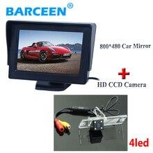 HD стеклянный объектив материал автомобильная стоянка камеры 4 светодиодные лампы + 4.3 «монитор автомобиля для Mitsubishi L200 Pajero Зингер V3 V5 V6 V8 V93 V97
