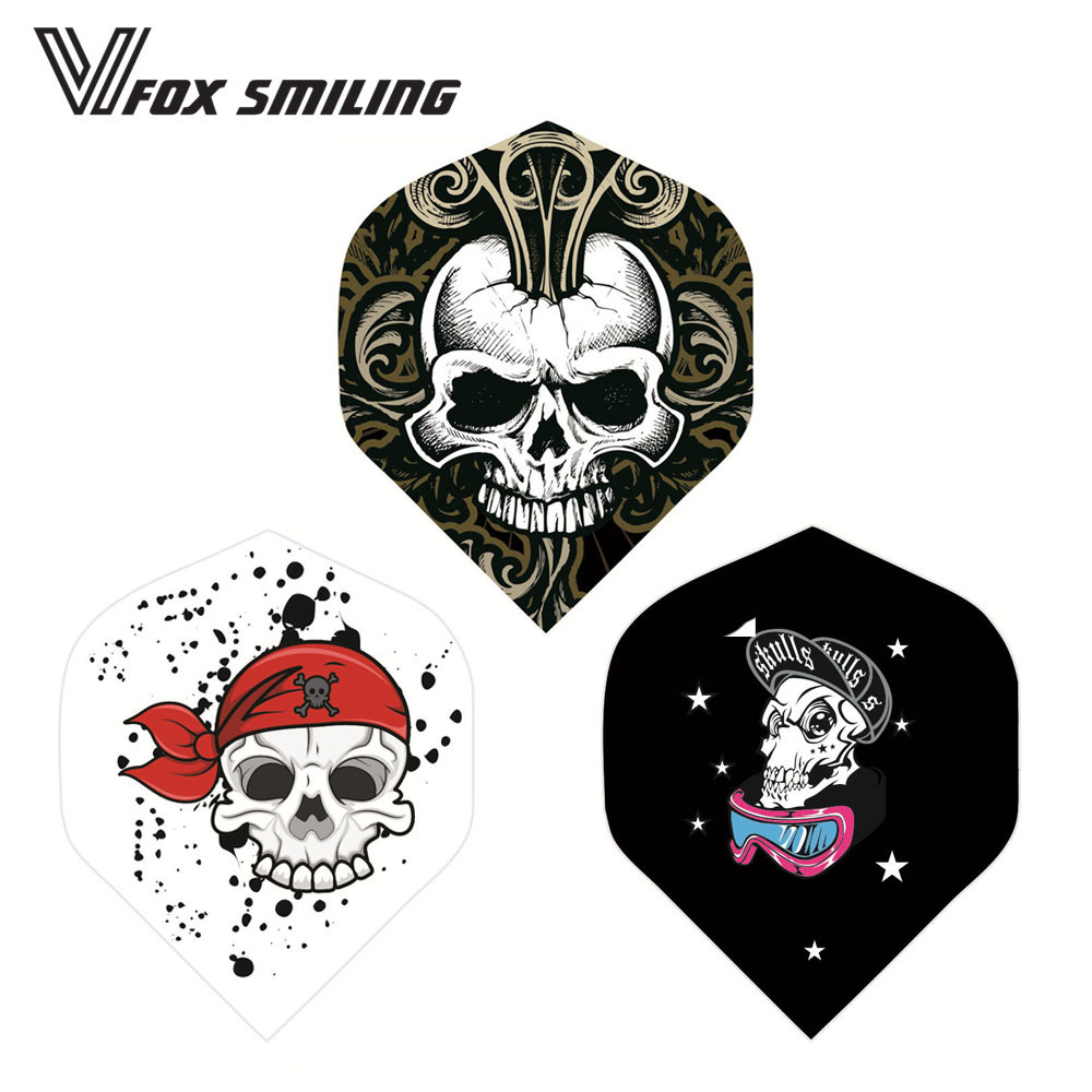 Fox Smiling 30PCS  Professional Darts Flights Dardos Feather Leaves Wings Tail Dart Accessories With Skull Pattern