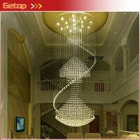 GETOP хрустальные светильники современная роскошная спираль большая Хрустальная люстра круглый подвесной светильник для двойной лестницы