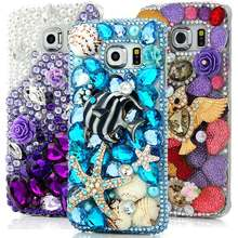 For Galaxy S6 Edge Phone Cases Luxury 3D Bling Diamond Rhinestone Hard Plastic Back Cover Case